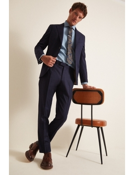 Vitale Barberis Canonico Tailored Fit Plain Blue Suit by Moss Bros