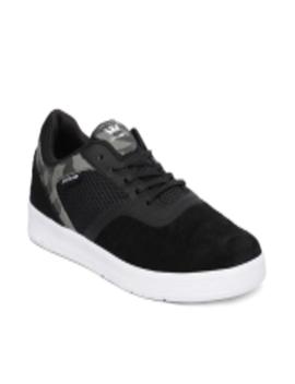 Men Black Saint Suede Sneakers by Supra