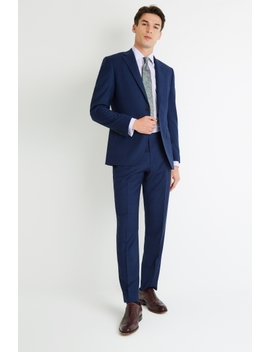Savoy Taylors Guild Regular Fit Blue Check Suit by Moss Bros
