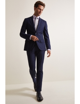 Moss 1851 Tailored Fit Navy Prince Wales Check Suit by Moss Bros
