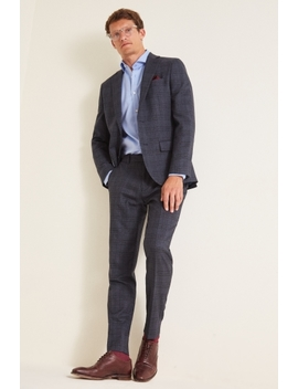 Moss 1851 Tailored Fit Textured Grid Check Suit by Moss Bros