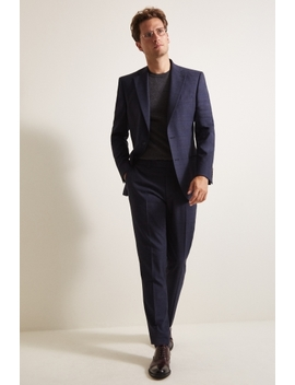 Moss 1851 Tailored Fit Navy Gold Check Suit by Moss Bros