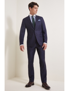 Savoy Taylors Guild Tailored Fit Navy Red Check Suit by Moss Bros