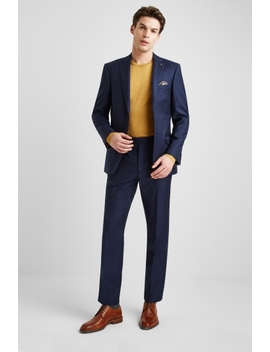 Ted Baker Gold Tailored Fit Navy Semi Plain Suit by Moss Bros