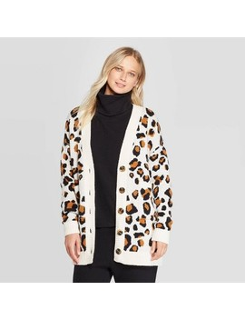 Women's Leopard Print Long Sleeve Boyfriend Cardigan   Who What Wear™ White by Who What Wear