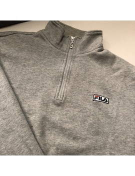 Vintage Fila 1/4 Zip Embroidered Small Logo Heather by Depop