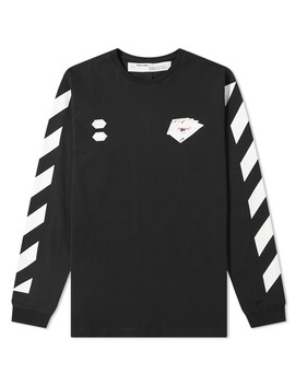 Off White Long Sleeve Diagonal Card Tee by Off White's