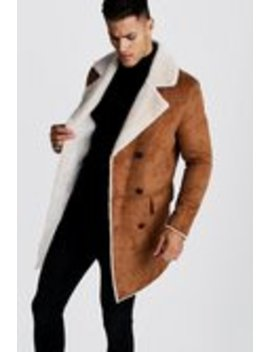 Longline Faux Fur Double Breasted Overcoat by Boohoo Man