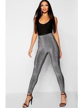Metallic High Waist Leggings by Boohoo