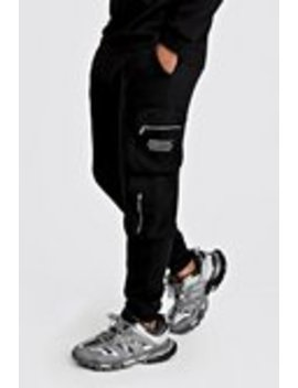 Man Official Print Cargo Jogger With 3 D Pockets by Boohoo Man