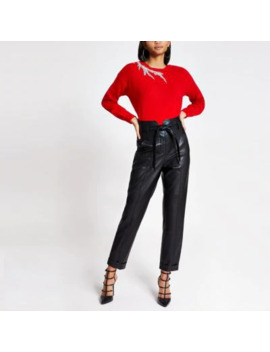 Red Embellished Cut Out Knitted Jumper by River Island