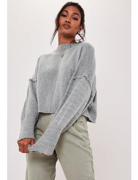 Gray Oversized Balloon Sleeve Crop Sweater by Missguided