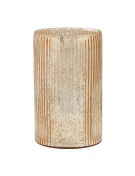 Gold Ribbed Mercury Glass Hurricane Candleholder by World Market