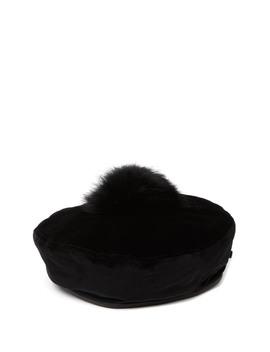 Tilda Genuine Fur Pompom Trim Beret by Eric Javits