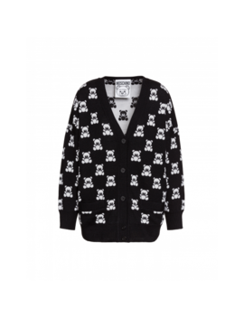 Jacquard Teddy Bear Merino Wool Cardigan by Moschino