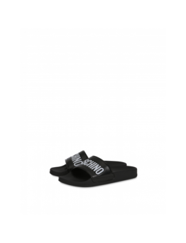 Pvc Slide Sandals With Logo by Moschino