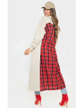Stone Contrast Check Panel Trench by Prettylittlething