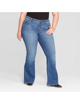Women's Plus Size Mid Rise Flare Jeans   Universal Thread™ Medium Blue by Universal Thread