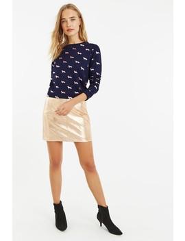 Oasis Blue Foil Daschund Sweater by Next