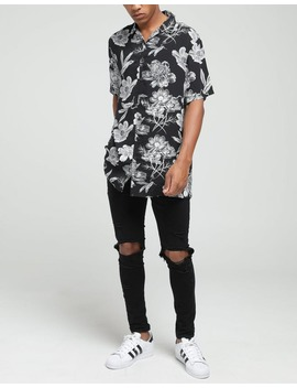 New Slaves Black Flower Shirt Black/White by New Slaves