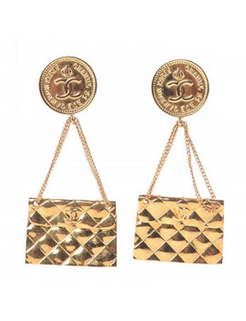 Chanel 2.55 Flap Clip On Earrings Gold by Chanel