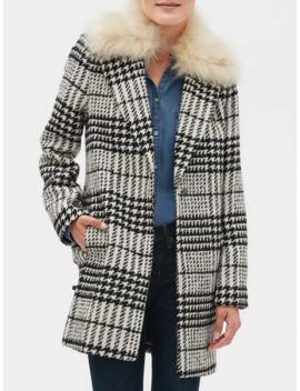 Faux Fur Collar Plaid Coat by Banana Republic Factory