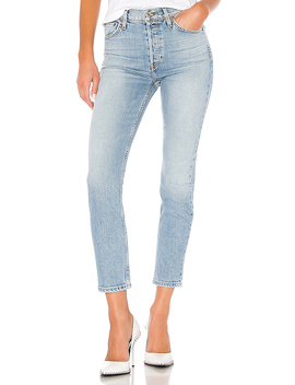 High Rise Ankle Crop Jean In Pale Indigo by Re/Done