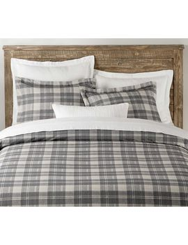 Turner Plaid Print Percale Duvet Cover & Shams   Gray by Pottery Barn