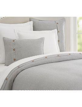 Wheaton Stripe Cotton Duvet Cover & Shams   Gray by Pottery Barn