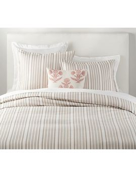 Antique Stripe Yarn Dye Cotton Duvet Cover & Shams   Taupe by Pottery Barn