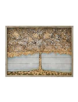 Madison Park Autumn Tree Neutral 36x27 Wood Art With 100 Percent Embellishment by Madison Park