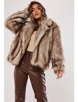 Brown Faux Collared Coat by Missguided