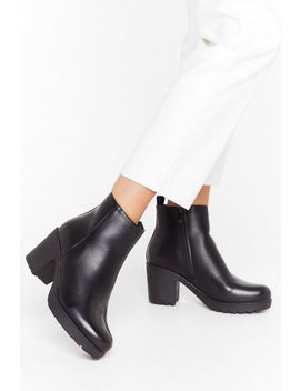 Walk The Walk Faux Leather Block Heel Boots by Nasty Gal