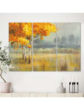Designart 'autumn Landscape' Farmhouse Canvas Wall Art   36 In. Wide X 28 In. High   3 Panels by Design Art