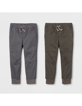 Toddler Boys' Jogger Fit 2pk Pull On Pants   Cat & Jack™ Gray/Olive by Cat & Jack