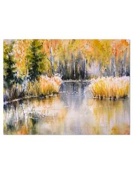 Designart 'forest Lake In Autumn Colors' Landscapes Painting Print On Wrapped Canvas   Yellow   40 In. Wide X 30 In. High by Design Art