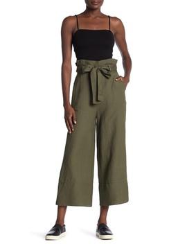 Belted Wide Leg Linen Blend Paperbag Pants by Blanknyc Denim