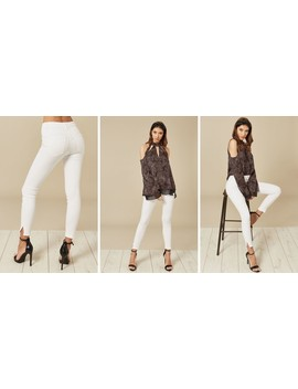 White Mid Waist Cropped Skinny Jeans by Pieces