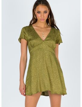 Motel Elara Dress Satin Cheetah Khaki by Motel