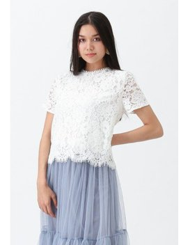 Everyday Fit Full Lace Top In White Amore Mesh Tulle Skirt In Pink Can't Let Go Mesh Tulle Skirt In Dusty Blue Everyday Fit Full Lace Top In Black by Chicwish
