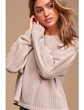 Weekend Ready Taupe Chenille Striped Sweater Top by Lulus