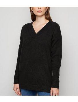 Black Knit V Neck Longline Jumper by New Look