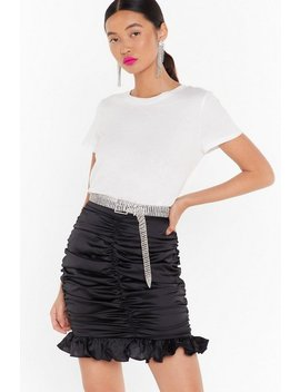 Time To Smooth On Satin Ruched Mini Skirt by Nasty Gal