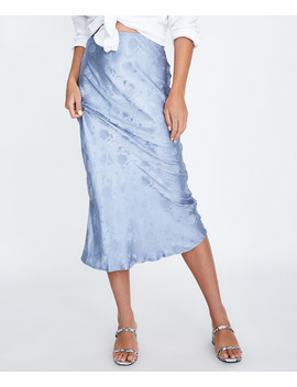 Brie Floral Satin Midi Skirt Ice Blue by Au