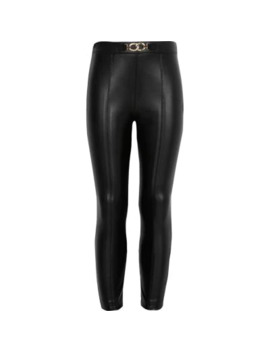 Girls Black Faux Leather Trousers by River Island