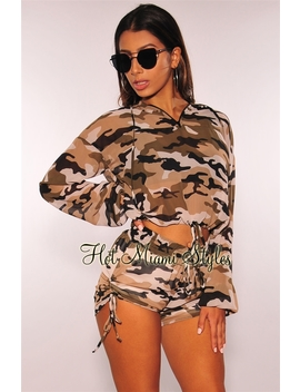 Camo Hoodie Ruched Shorts Lightweight Two Piece Set by Hot Miami Style