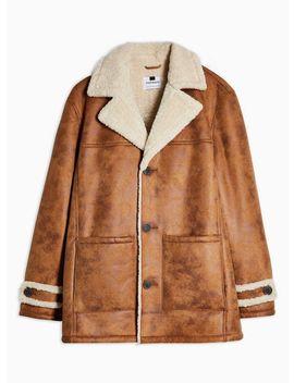 Tan Shearling Aviator Jacket by Topman