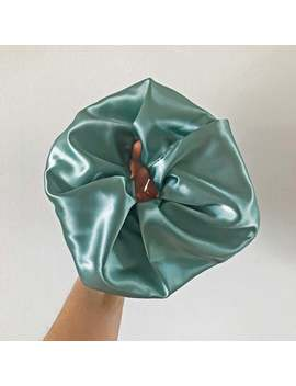 Oversized Satin Sage Green Scrunchie   80s 90s Minimalist   Giant Scrunchie   Large Hair Accessories   Satin Hair Tie by Etsy