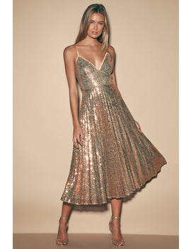 Vision Of Elegance Rose Gold Sequin Pleated Midi Dress by Lulus
