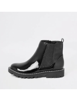 Girls Black Patent Boots by River Island